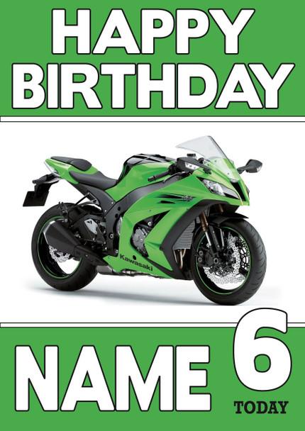 Personalised Kawasaki Bike Birthday Card 2