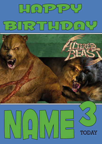 Retro Gaming Altered Beast Personalised Card