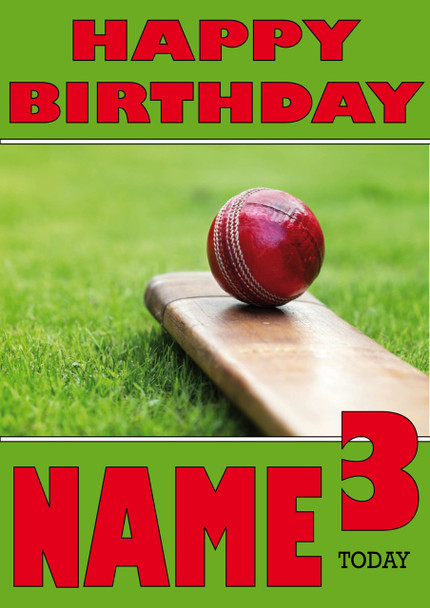 Cricket Bat And Ball Personalised Card
