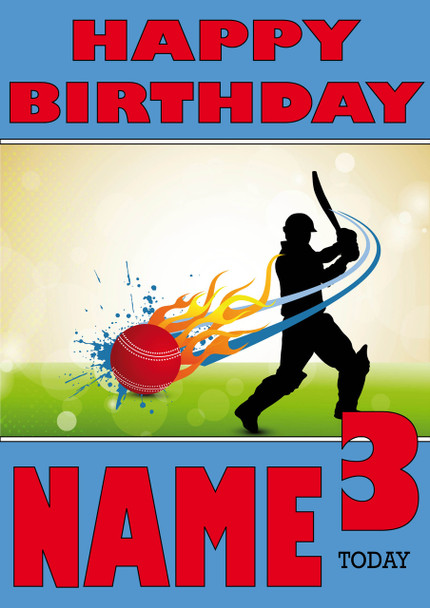 Cricket Speed Ball Personalised Card