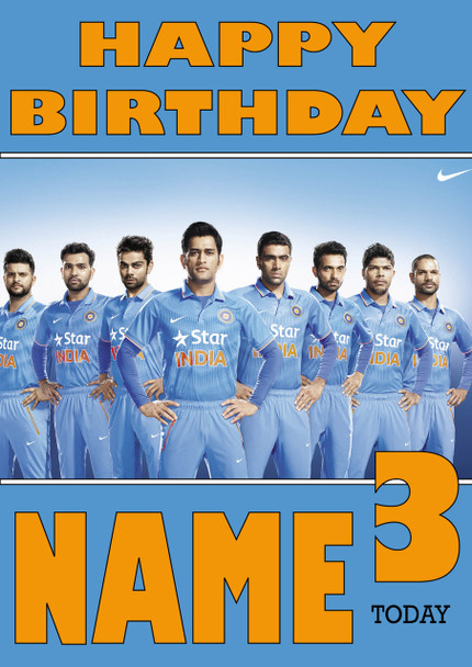 India Cricket Team Personalised Card