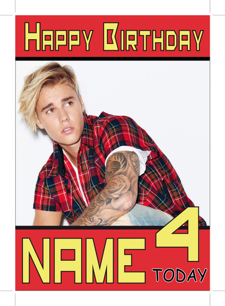 Justin Bieber Red Shirt Personalised Birthday Card