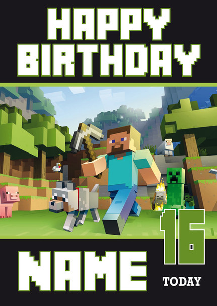 Minecraft New Design 1 Personalised Birthday Card