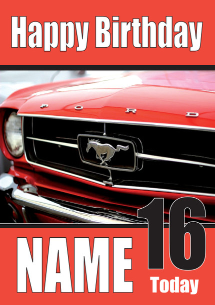 Happy Birthday Ford Mustang Red Cars