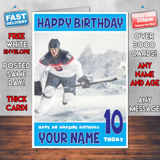 Ice Hockey Bm1 Personalised Birthday Card
