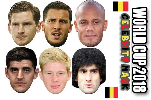 Belgium Football World Cup 2018 Face Mask - 6 Pack