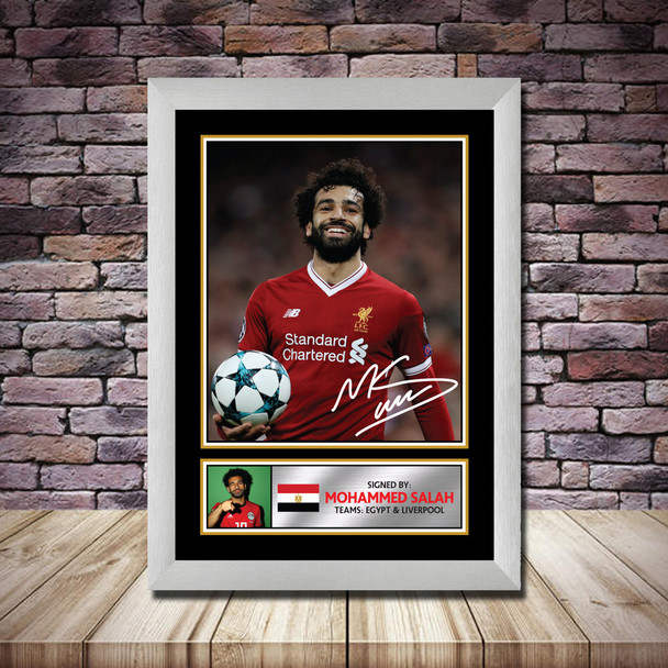 Personalised Signed Football Autograph print - Mohamed Salah - A4 A3 A2 A1 - Framed or Print Only