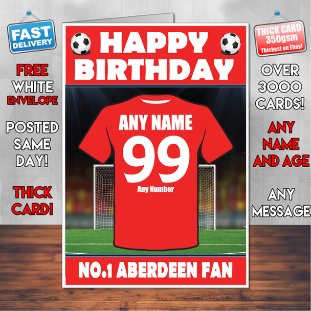 Personalised Aberdeen Football Fan Birthday Card - Soccer team - Any Age - Any Name - Any Message