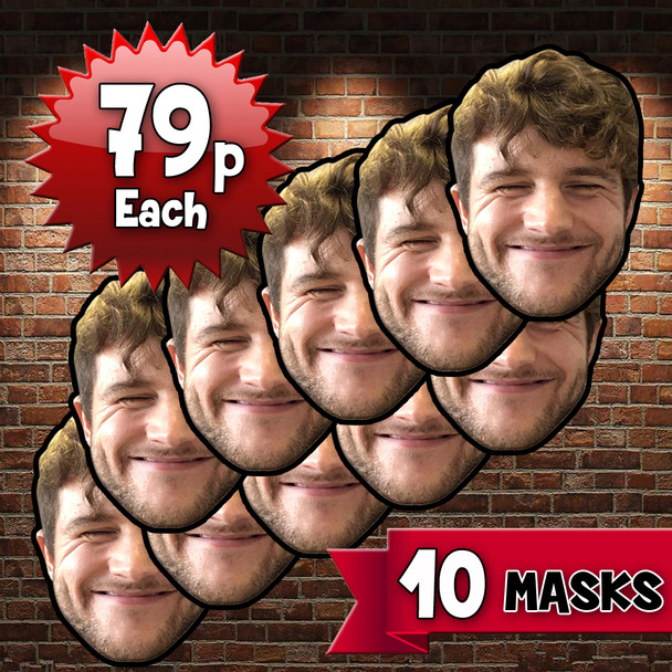 10 x Personalised Create Your Own DIY Photo celebrity party masks - Custom Party Masks