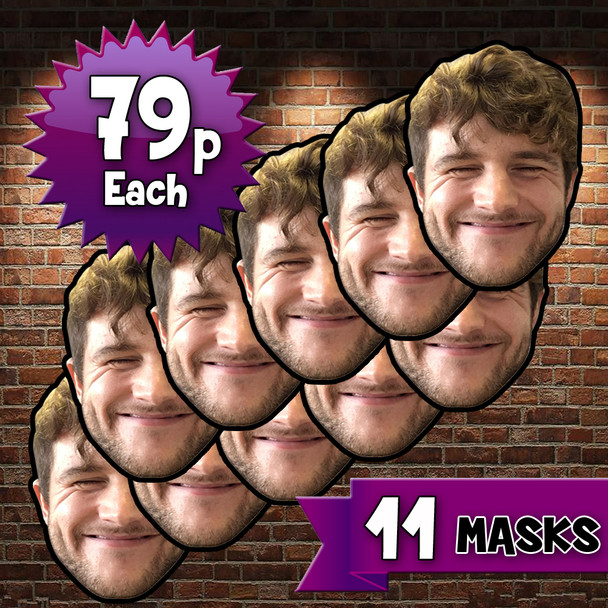 11 x Personalised Create Your Own DIY Photo Face Masks - Custom Party Masks