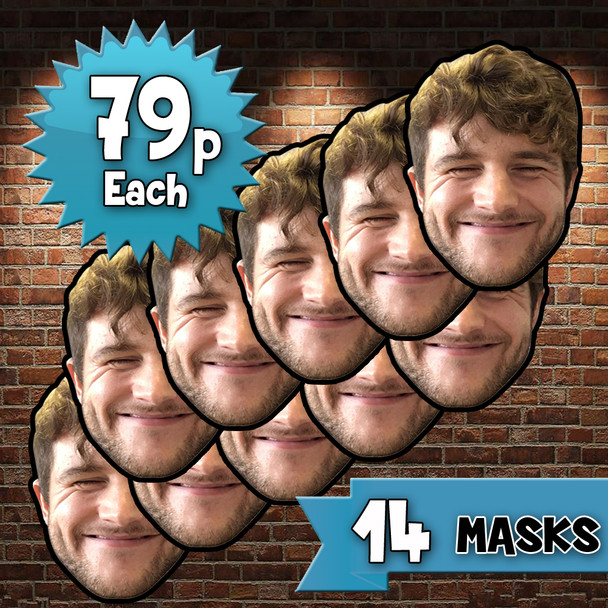 14 x Personalised Create Your Own DIY Photo Face Masks - Custom Party Masks