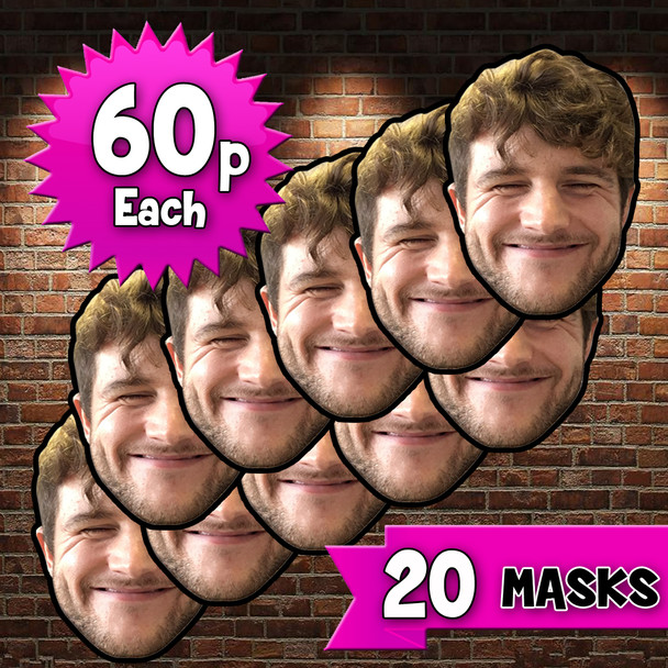 20 x Personalised Create Your Own DIY Photo Face Masks - Custom Party Masks
