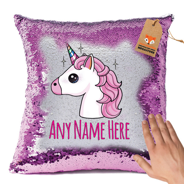 Hot Pink and Personalised Unicorn Design 2 Magic Reveal Cushion Cover PERSONALISED Sequin Christmas