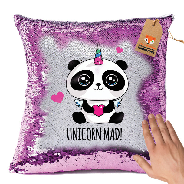 Hot Pink and Personalised Unicorn PANDA Design Magic Reveal Cushion Cover PERSONALISED Sequin Christmas