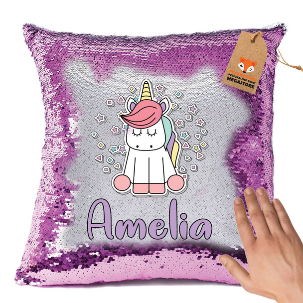 Hot Pink and Unicorn 102 - White Design Magic Reveal Cushion Cover PERSONALISED Sequin Christmas