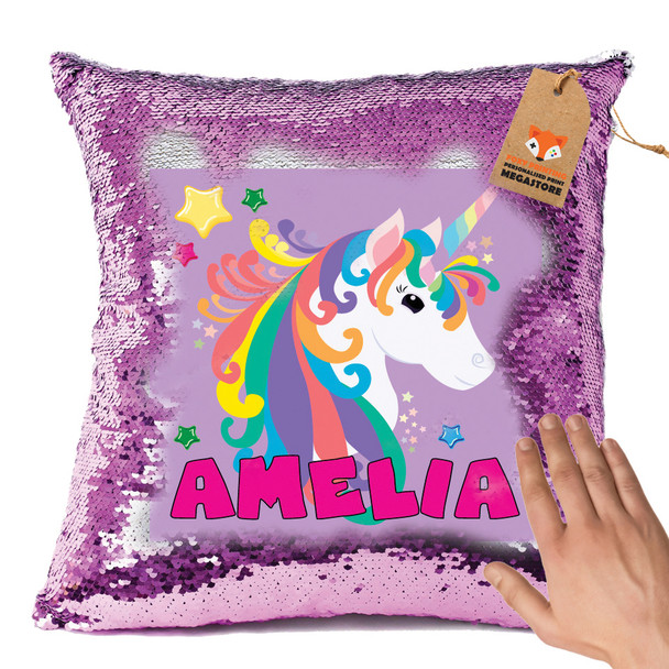 Hot Pink and Unicorn 103 - White Design Magic Reveal Cushion Cover PERSONALISED Sequin Christmas