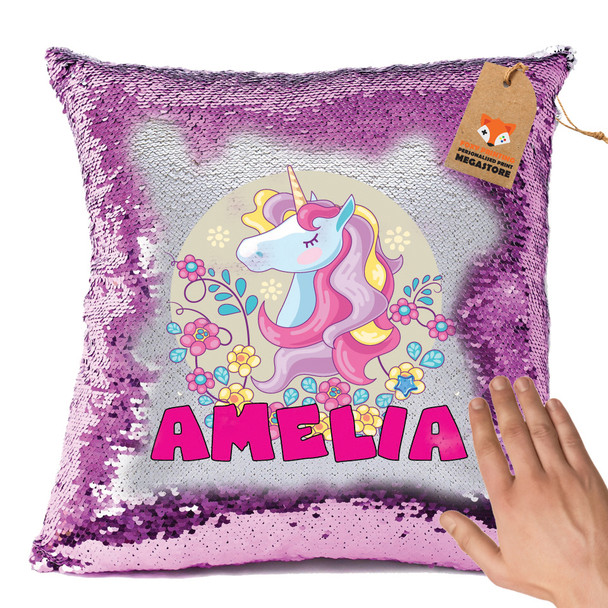 Hot Pink and Unicorn 104 - White Design Magic Reveal Cushion Cover PERSONALISED Sequin Christmas