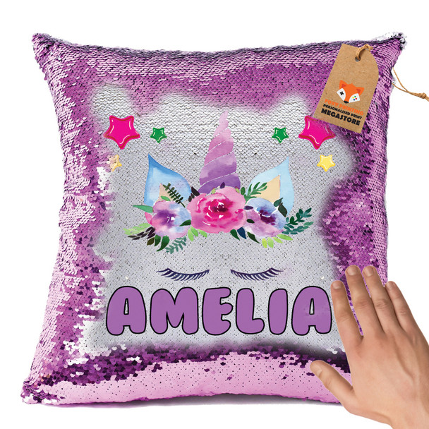 Hot Pink and Unicorn 105 - White Design Magic Reveal Cushion Cover PERSONALISED Sequin Christmas