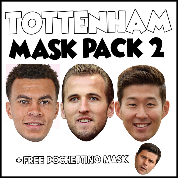 Tottenham Champions League Mask Pack 2 HARRY KANE, DELE ALI, SON HEUNG-MIN, AND FREE POCHETINO
