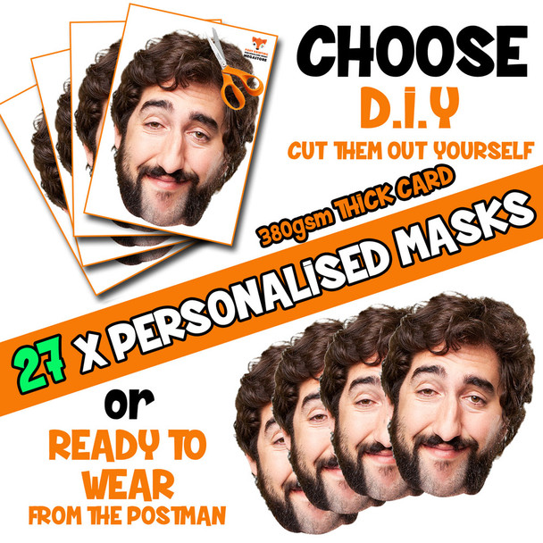 27 x PERSONALISED CUSTOM Stag Masks PHOTO DIY OR CUT PARTY FACE MASKS - Stag & Hen Party Facemasks