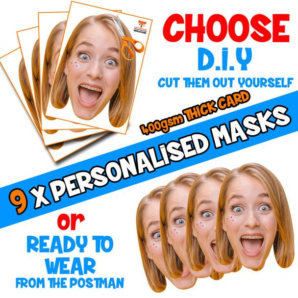 9 x PERSONALISED CUSTOM Hen Party Masks PHOTO DIY OR CUT PARTY FACE MASKS - Stag & Hen Party Facemasks