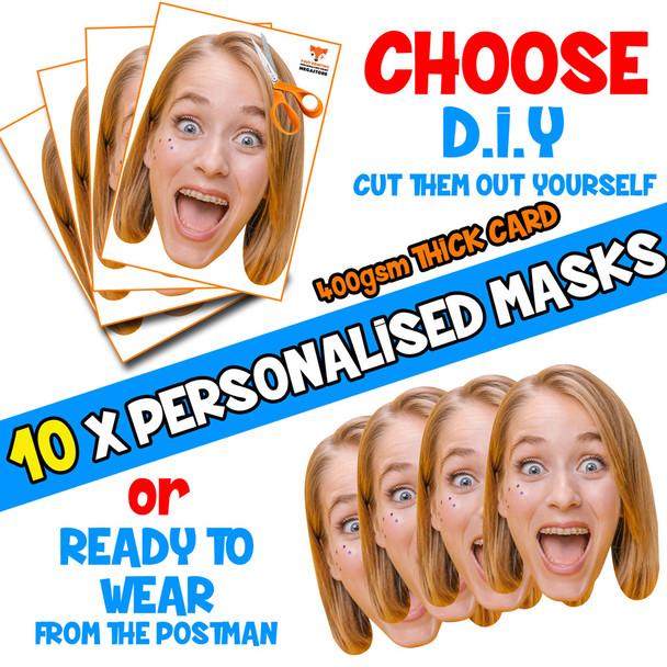10 x PERSONALISED CUSTOM Hen Party Masks PHOTO DIY OR CUT PARTY FACE MASKS - Stag & Hen Party Facemasks