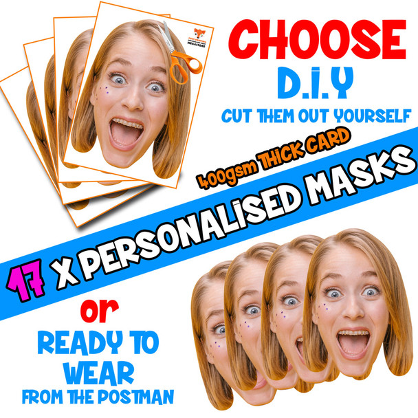 17 x PERSONALISED CUSTOM Hen Party Masks PHOTO DIY OR CUT PARTY FACE MASKS - Stag & Hen Party Facemasks