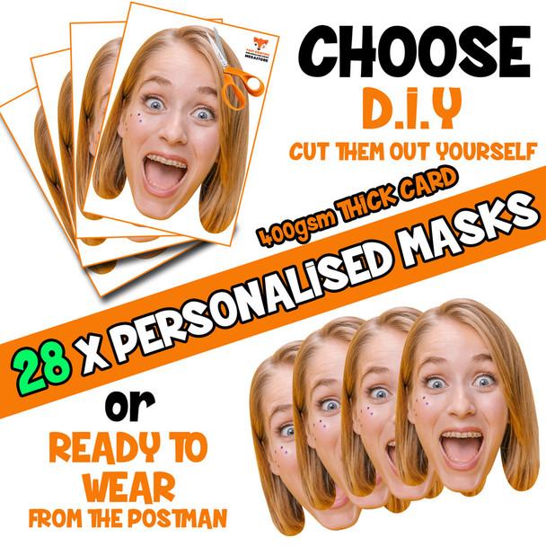 28 x PERSONALISED CUSTOM Hen Party Masks PHOTO DIY OR CUT PARTY FACE MASKS - Stag & Hen Party Facemasks