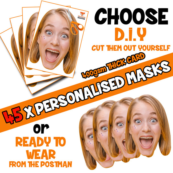 45 x PERSONALISED CUSTOM Hen Party Masks PHOTO DIY OR CUT PARTY FACE MASKS - Stag & Hen Party Facemasks