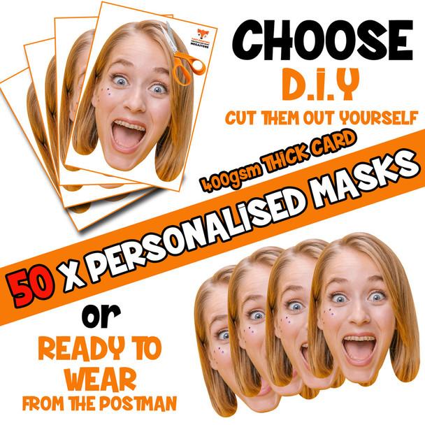 50 x PERSONALISED CUSTOM Hen Party Masks PHOTO DIY OR CUT PARTY FACE MASKS - Stag & Hen Party Facemasks