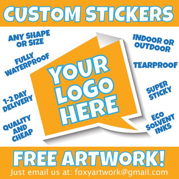 Sticker Sheet Offer - 1300mm x 200mm - Custom Vinyl Printed Waterproof Stickers Labels