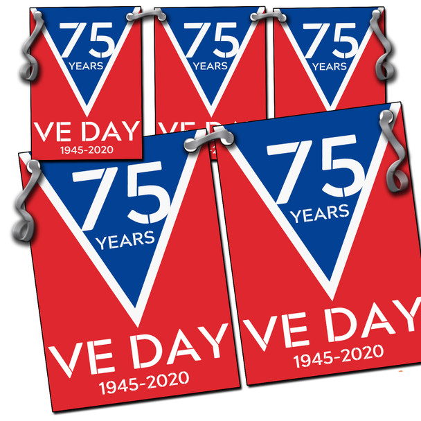 VE Day 2020 Party Bunting Design 4 Red Blue