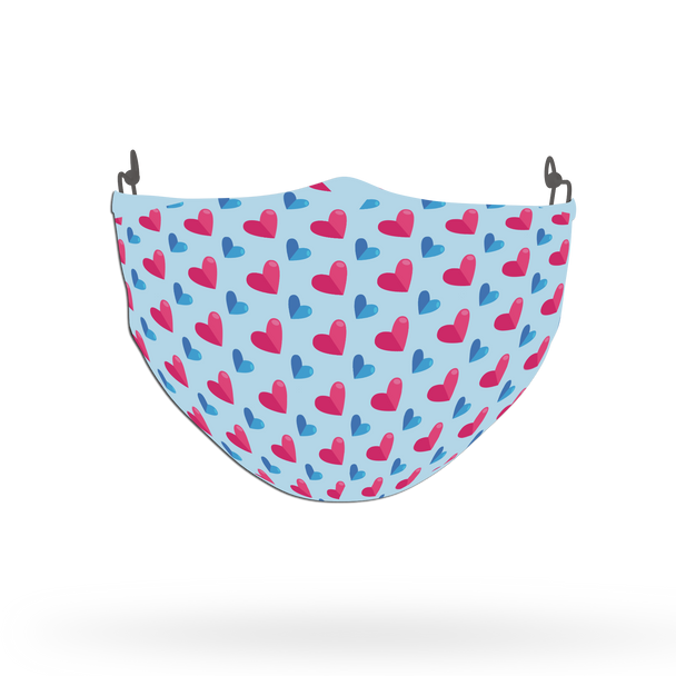 Blue and Pink Love Pattern Face Covering Print 4
