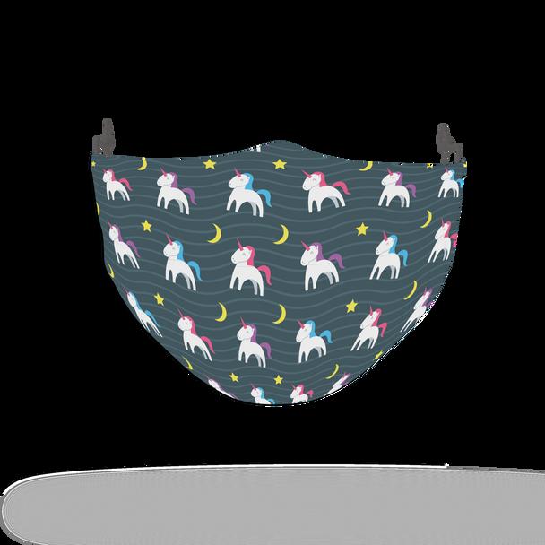 Navy Unicorn Pattern Face Covering Print 14