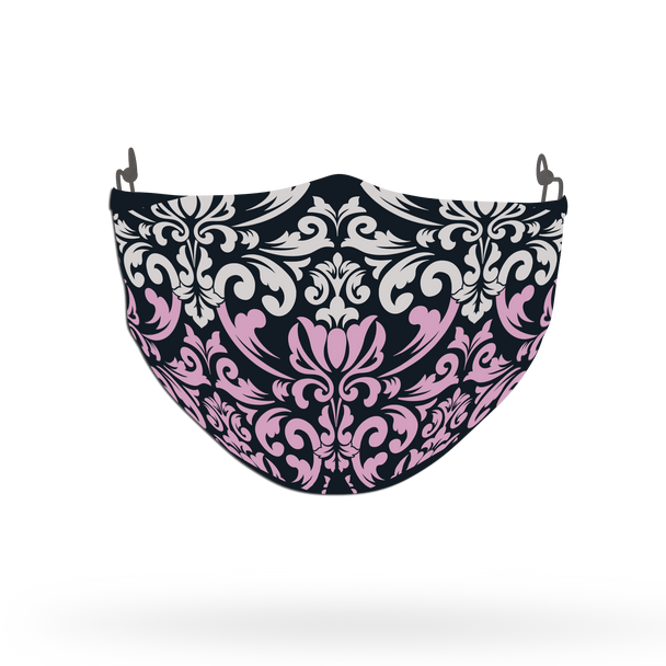 White and Pink Ornamental Pattern Face Covering Print 3