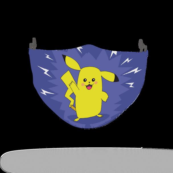 Blue Pokemon Pikachu Pattern Face Covering Print 4
