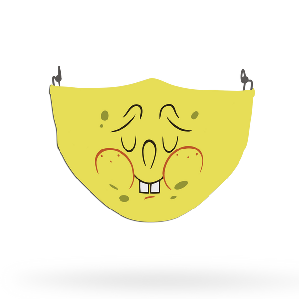 Yellow Spongebob Face Pattern Face Covering Print 3