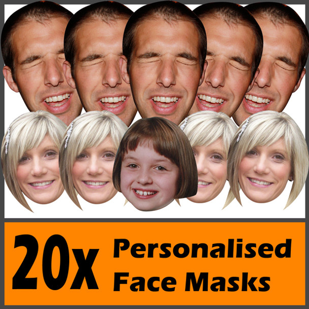 20 X Personalised Face Masks Stag | Hen | Birthday | Wedding