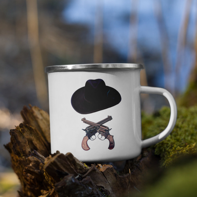 Doc Holliday Hat & Crossguns / Enamel Mug