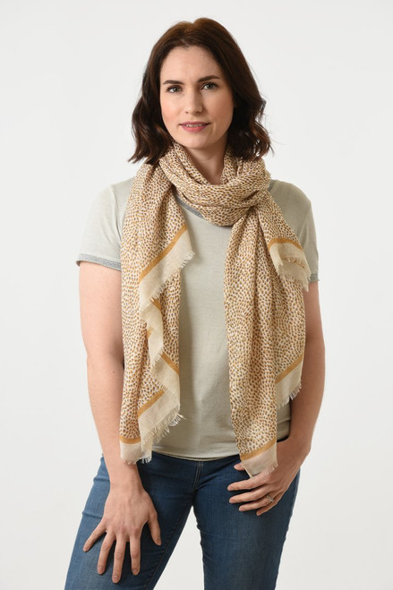 Taupe abstract micro speckle dot scarf