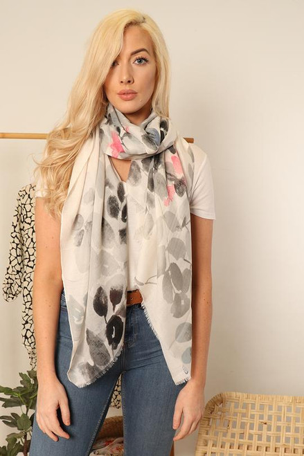 Grey and pink watercolour floral print scarf.