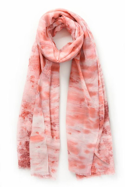 Pink and rose marbled watercolour effect scarf.