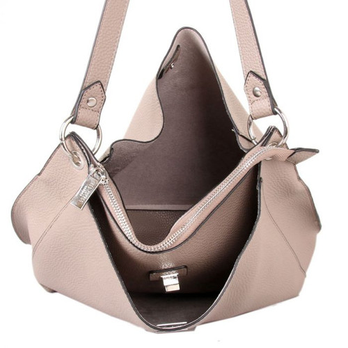 Taupe shoulder bag with clasp fastener