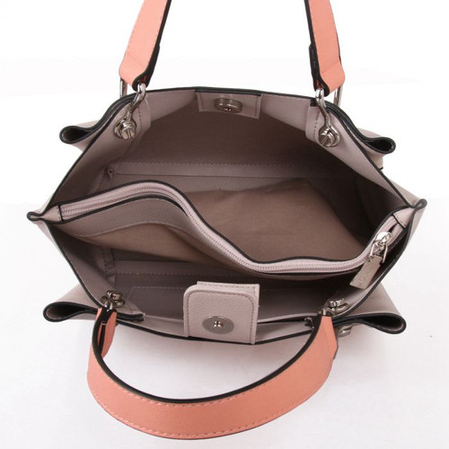 Light grey grab bag with pink contrast