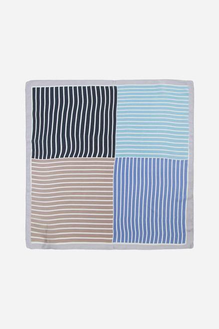 Blue stripe square scarf