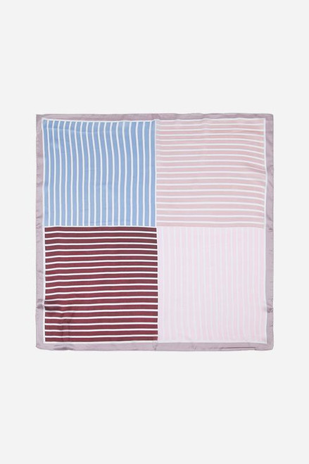 Pink grey stripe square scarf