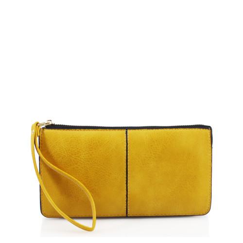 Yellow wristlet purse