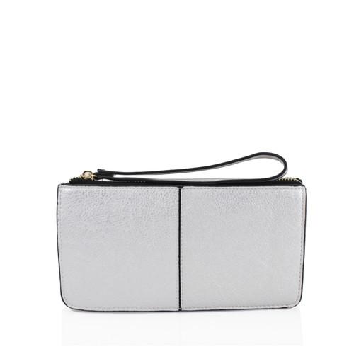Silver wristlet purse