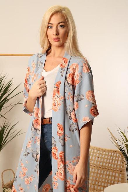 Light blue floral kimono