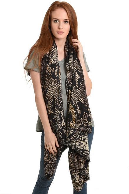Taupe mustard snake print scarf.